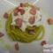 Spaghetti con crema di fave fresche, pancetta e burrata