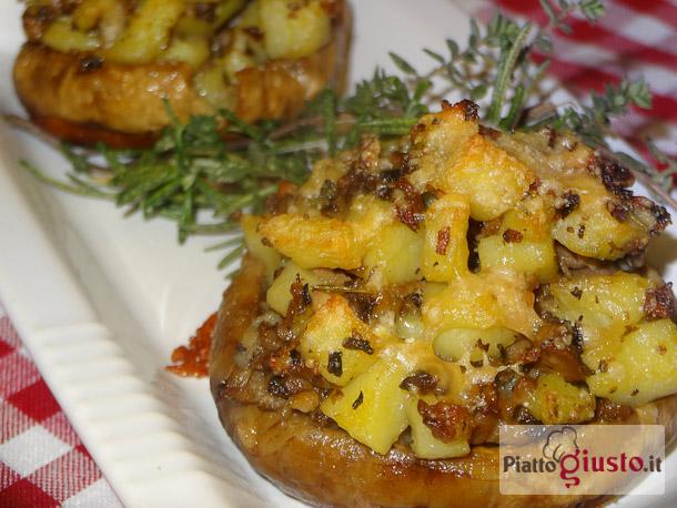 Funghi ripieni di patate gratinati