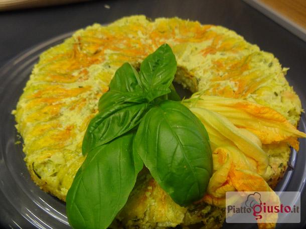 Sformato di riso, zucchine e fiori